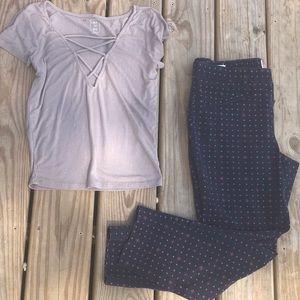 Gap skinny ankle pant & crop top bundle